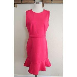 LOFT fuschia pink sleeveless dress ruffle hem